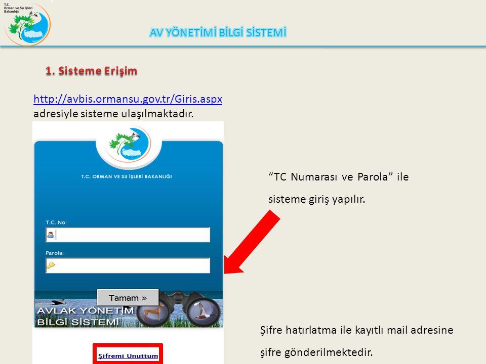 """http://avbis.ormansu.gov.tr/Giris.aspx adresiyle sisteme ulaşılmaktadır. """"TC Numarası ve Parola"""" ile sisteme giriş yapılır. Şifre hatırlatma ile kayıt"""