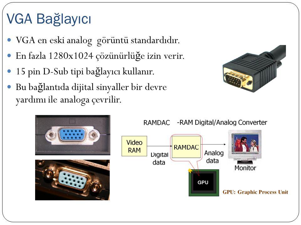 VGA en eski analog görüntü standardıdır. En fazla 1280x1024 çözünürlü ğ e izin verir. 15 pin D-Sub tipi ba ğ layıcı kullanır. Bu ba ğ lantıda dijital