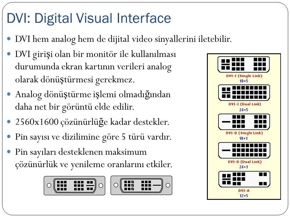 DVI hem analog hem de dijital video sinyallerini iletebilir. DVI giri ş i olan bir monitör ile kullanılması durumunda ekran kartının verileri analog o