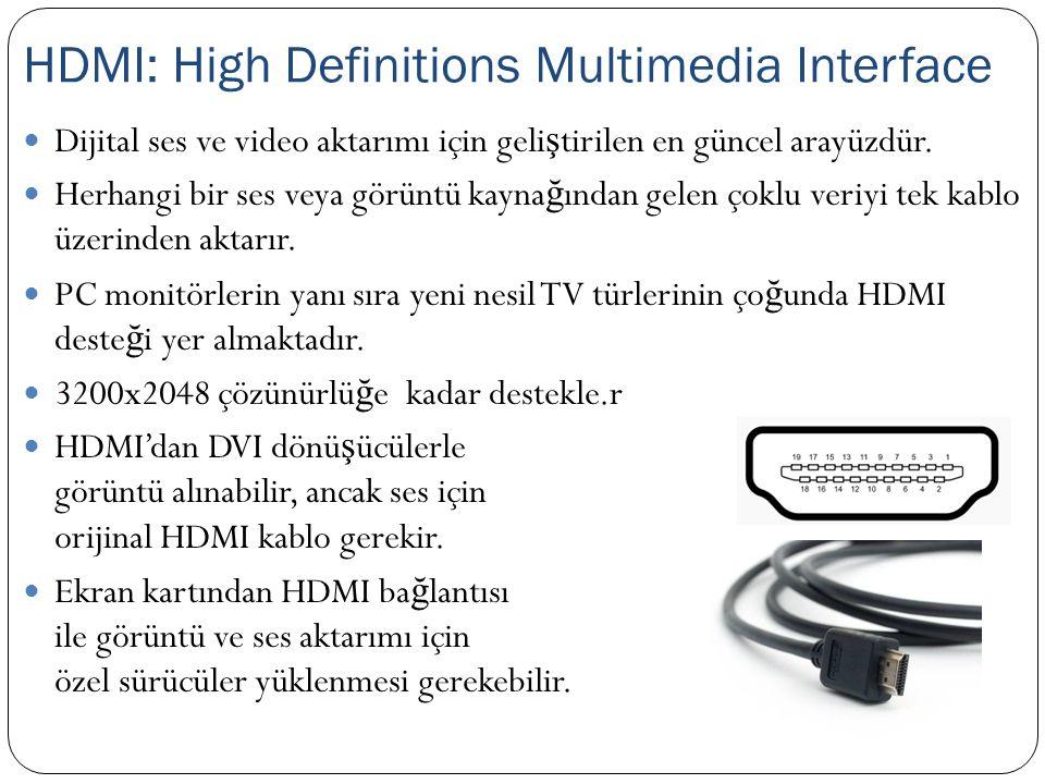 Dijital ses ve video aktarımı için geli ş tirilen en güncel arayüzdür. Herhangi bir ses veya görüntü kayna ğ ından gelen çoklu veriyi tek kablo üzerin