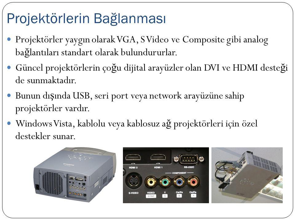 Projektörler yaygın olarak VGA, S Video ve Composite gibi analog ba ğ lantıları standart olarak bulundururlar. Güncel projektörlerin ço ğ u dijital ar