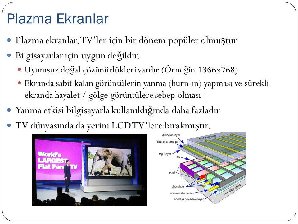 Plazma ekranlar, TV'ler için bir dönem popüler olmu ş tur Bilgisayarlar için uygun de ğ ildir. Uyumsuz do ğ al çözünürlükleri vardır (Örne ğ in 1366x7