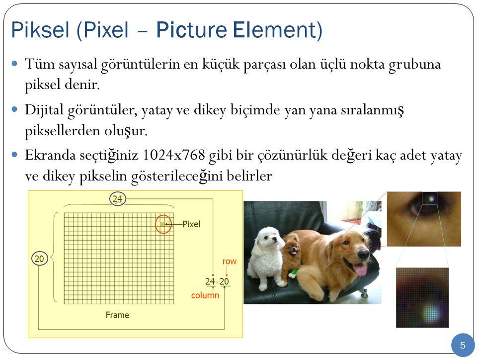 6 RGB ve CMYK kavramları piksel renk yeteneklerini ifade eder.
