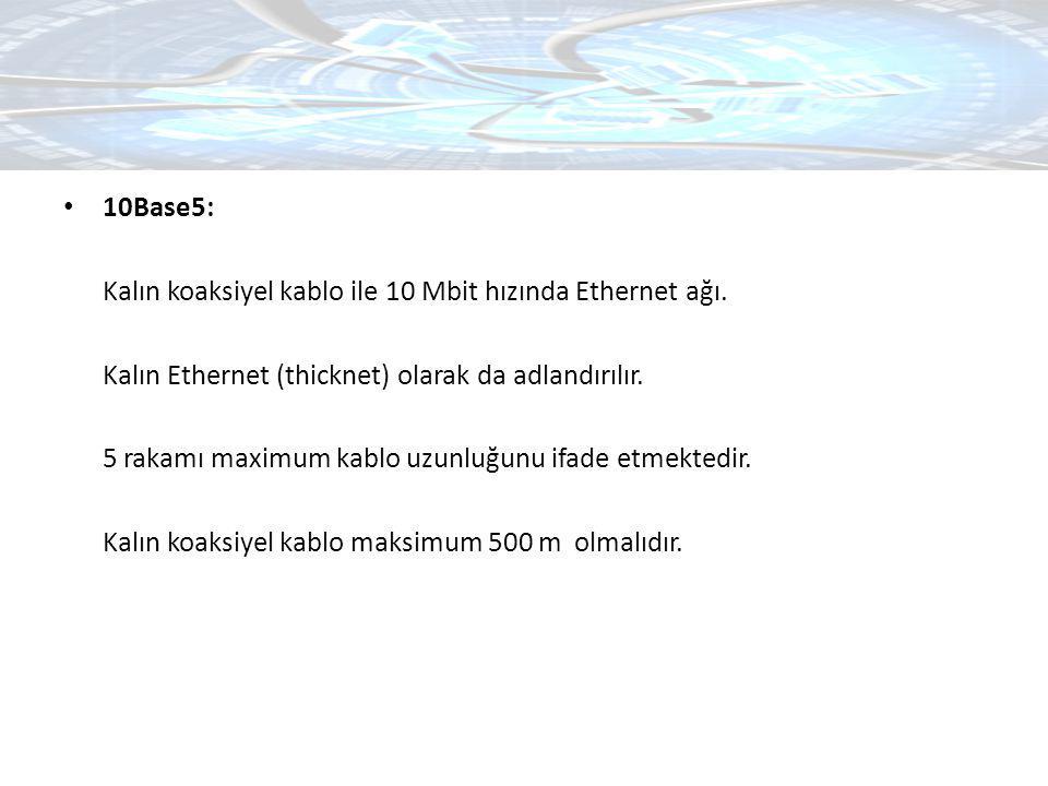 10Base5: Kalın koaksiyel kablo ile 10 Mbit hızında Ethernet ağı. Kalın Ethernet (thicknet) olarak da adlandırılır. 5 rakamı maximum kablo uzunluğunu i