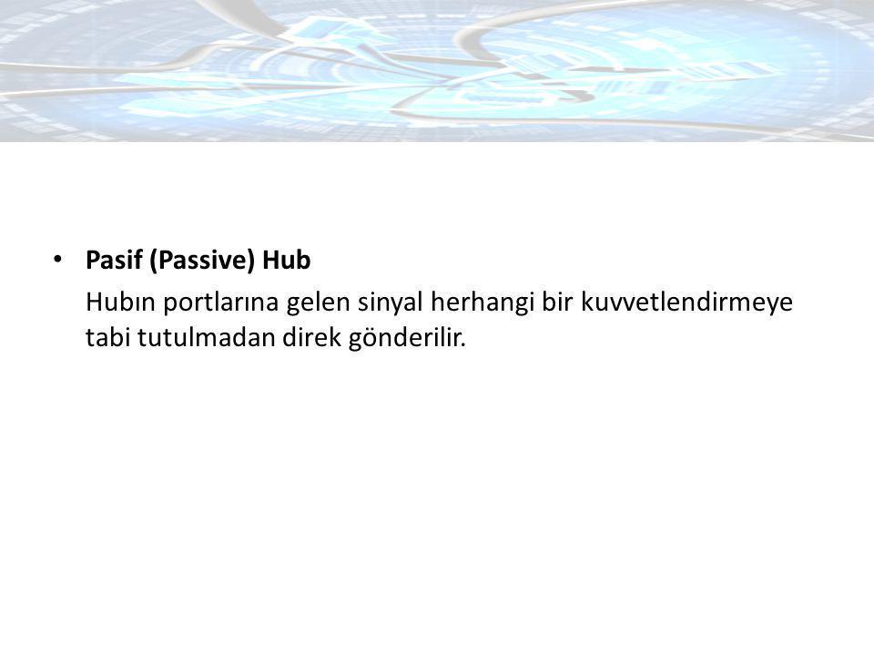 Pasif (Passive) Hub Hubın portlarına gelen sinyal herhangi bir kuvvetlendirmeye tabi tutulmadan direk gönderilir.