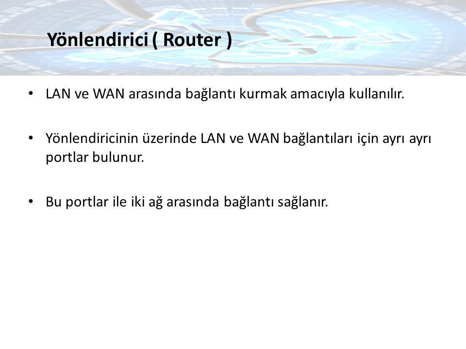 LAN ve WAN arasında bağlantı kurmak amacıyla kullanılır. Yönlendiricinin üzerinde LAN ve WAN bağlantıları için ayrı ayrı portlar bulunur. Bu portlar i