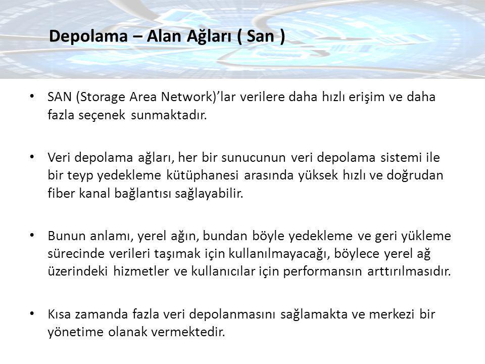 SAN (Storage Area Network)'lar verilere daha hızlı erişim ve daha fazla seçenek sunmaktadır. Veri depolama ağları, her bir sunucunun veri depolama sis