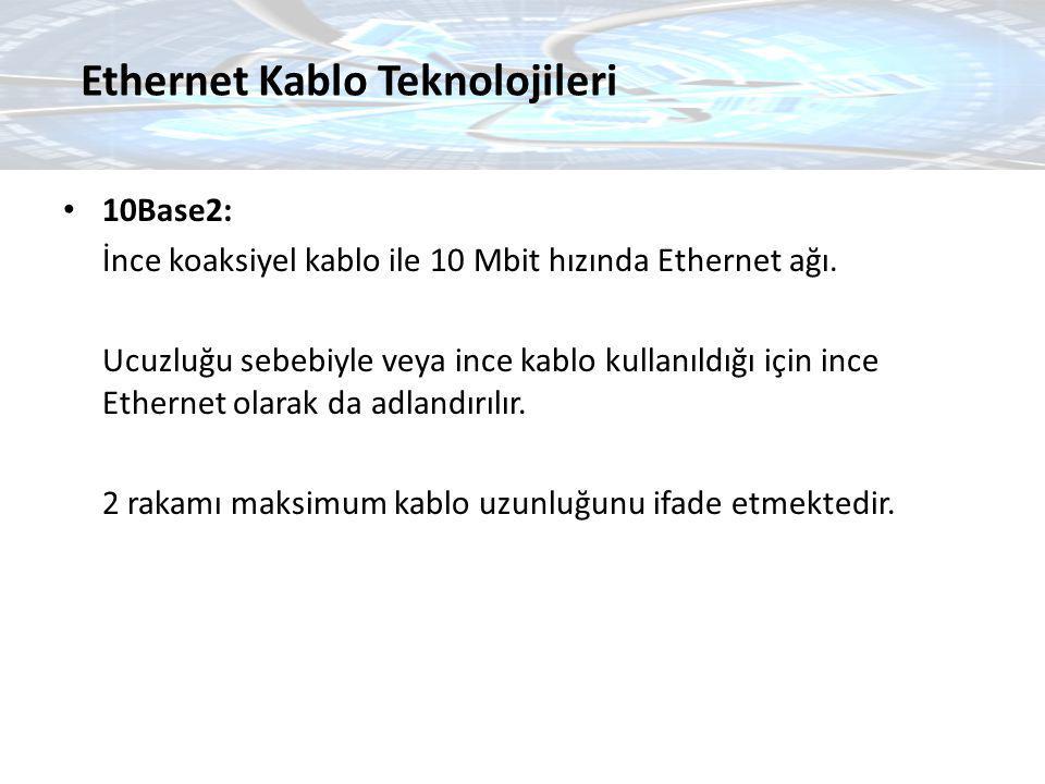 10Base2: İnce koaksiyel kablo ile 10 Mbit hızında Ethernet ağı. Ucuzluğu sebebiyle veya ince kablo kullanıldığı için ince Ethernet olarak da adlandırı