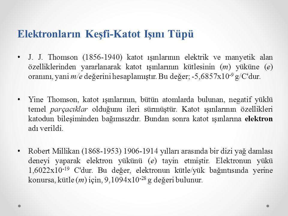 Elektronların Keşfi-Katot Işını Tüpü J. J. Thomson (1856-1940) katot ışınlarının elektrik ve manyetik alan özelliklerinden yararlanarak katot ışınları