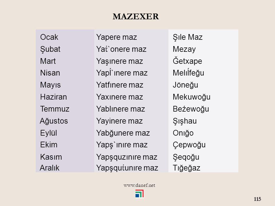 www.danef.net 114 ĞEXERMEVSİMLER ĞETXAPE İlkbahar ĞEMAF Yaz BJIHA Sonbahar ĆIMAF Kış