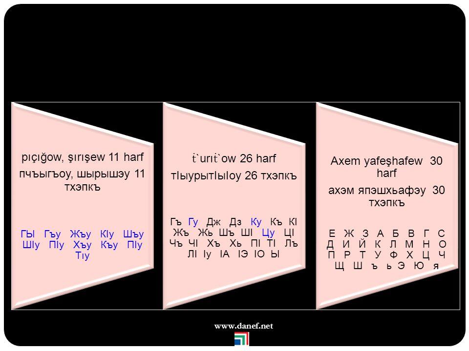 150 www.danef.net Kiril Alfabesinde değişken harfler г бгыbǵı гуgu кIкI кIакIоćaqo кIакIоćaqo ц цуçü коцыḱośı е eсынyesın Тетtét о жъогъоjöağo гъэжъон