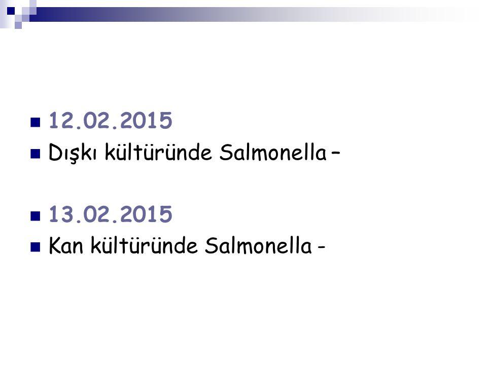 12.02.2015 Dışkı kültüründe Salmonella – 13.02.2015 Kan kültüründe Salmonella -
