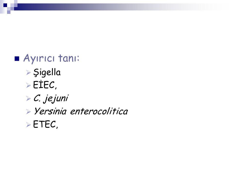 Ayırıcı tanı:  Şigella  EİEC,  C. jejuni  Yersinia enterocolitica  ETEC,