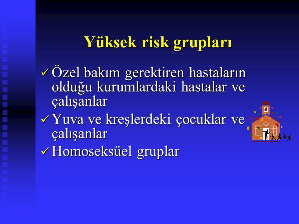 Yüksek risk grupları Yüksek risk grupları Özel bakım gerektiren hastaların olduğu kurumlardaki hastalar ve çalışanlar Özel bakım gerektiren hastaların olduğu kurumlardaki hastalar ve çalışanlar Yuva ve kreşlerdeki çocuklar ve çalışanlar Yuva ve kreşlerdeki çocuklar ve çalışanlar Homoseksüel gruplar Homoseksüel gruplar