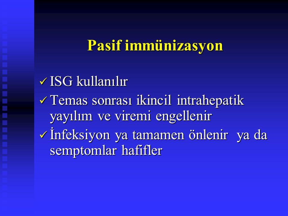 Pasif immünizasyon Pasif immünizasyon ISG kullanılır ISG kullanılır Temas sonrası ikincil intrahepatik yayılım ve viremi engellenir Temas sonrası ikincil intrahepatik yayılım ve viremi engellenir İnfeksiyon ya tamamen önlenir ya da semptomlar hafifler İnfeksiyon ya tamamen önlenir ya da semptomlar hafifler