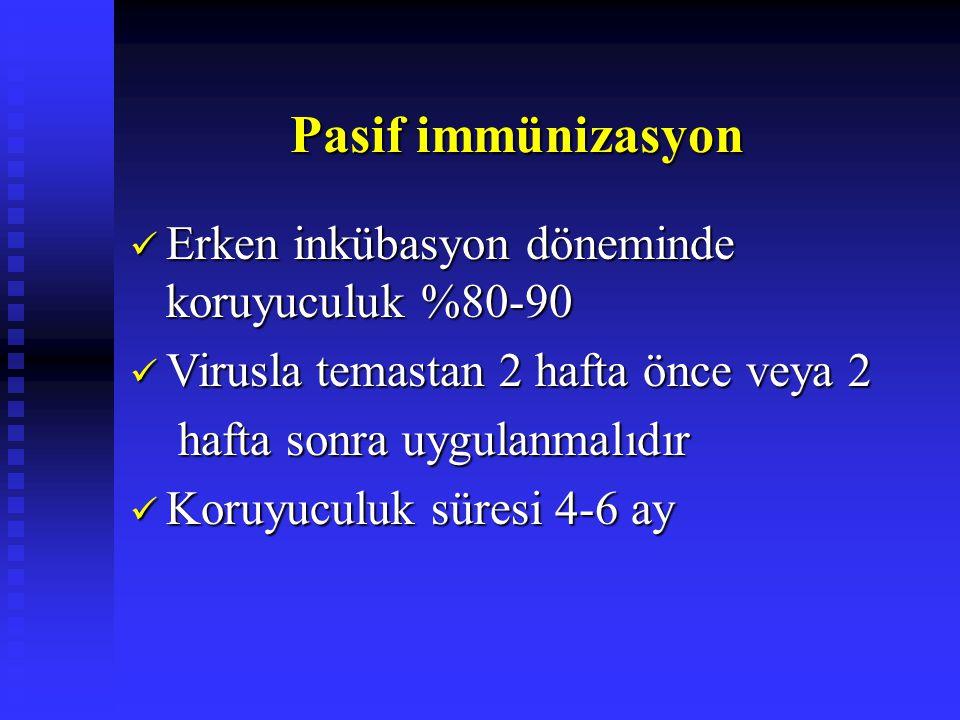 Pasif immünizasyon Pasif immünizasyon Erken inkübasyon döneminde koruyuculuk %80-90 Erken inkübasyon döneminde koruyuculuk %80-90 Virusla temastan 2 hafta önce veya 2 Virusla temastan 2 hafta önce veya 2 hafta sonra uygulanmalıdır hafta sonra uygulanmalıdır Koruyuculuk süresi 4-6 ay Koruyuculuk süresi 4-6 ay
