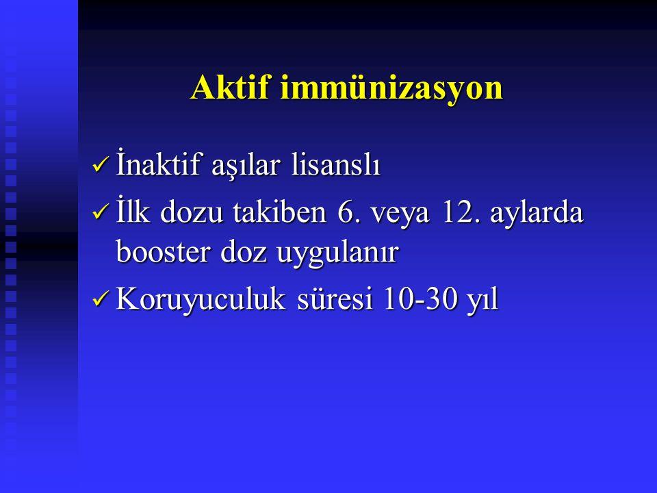 Aktif immünizasyon Aktif immünizasyon İnaktif aşılar lisanslı İnaktif aşılar lisanslı İlk dozu takiben 6. veya 12. aylarda booster doz uygulanır İlk d