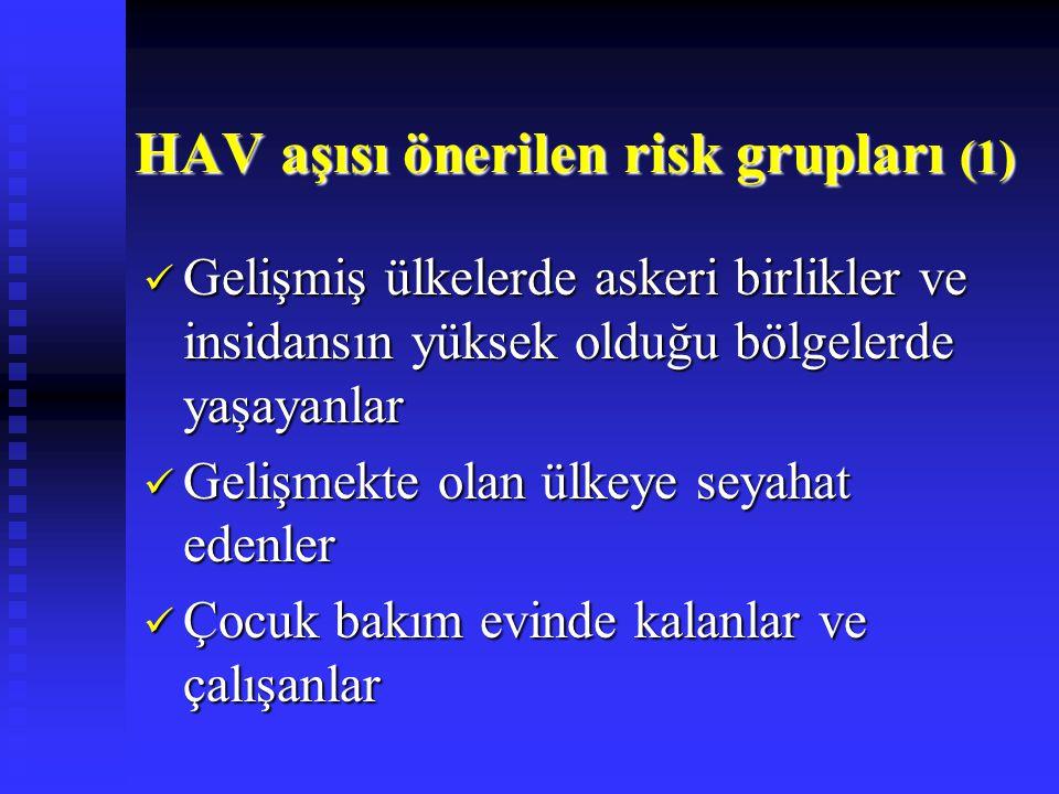 HAV aşısı önerilen risk grupları (1) Gelişmiş ülkelerde askeri birlikler ve insidansın yüksek olduğu bölgelerde yaşayanlar Gelişmiş ülkelerde askeri b