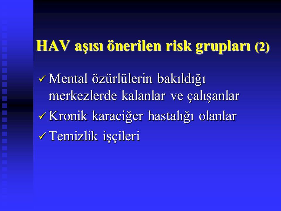HAV aşısı önerilen risk grupları (2) Mental özürlülerin bakıldığı merkezlerde kalanlar ve çalışanlar Mental özürlülerin bakıldığı merkezlerde kalanlar ve çalışanlar Kronik karaciğer hastalığı olanlar Kronik karaciğer hastalığı olanlar Temizlik işçileri Temizlik işçileri