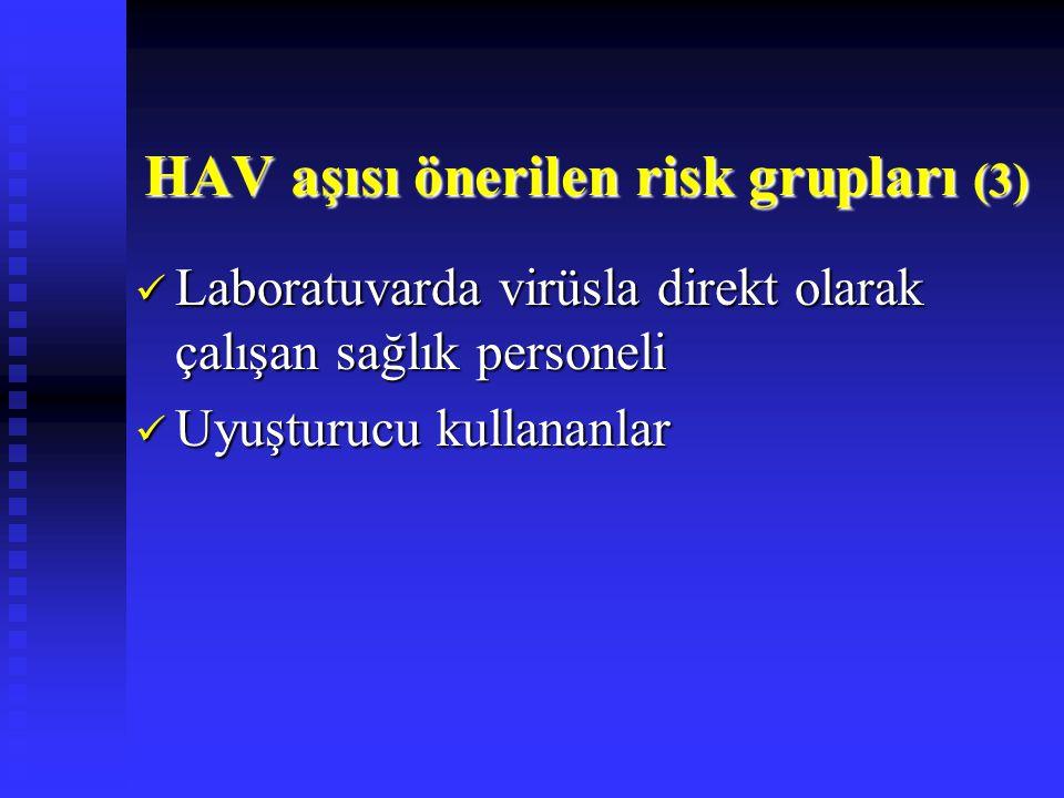 Laboratuvarda virüsla direkt olarak çalışan sağlık personeli Laboratuvarda virüsla direkt olarak çalışan sağlık personeli Uyuşturucu kullananlar Uyuşturucu kullananlar HAV aşısı önerilen risk grupları (3)