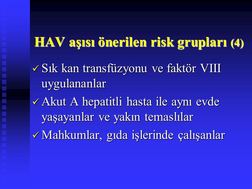 Sık kan transfüzyonu ve faktör VIII uygulananlar Sık kan transfüzyonu ve faktör VIII uygulananlar Akut A hepatitli hasta ile aynı evde yaşayanlar ve y