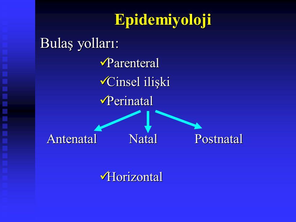 Epidemiyoloji Bulaş yolları: Parenteral Parenteral Cinsel ilişki Cinsel ilişki Perinatal Perinatal AntenatalNatal Postnatal AntenatalNatal Postnatal Horizontal Horizontal