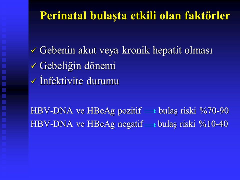 Perinatal bulaşta etkili olan faktörler Gebenin akut veya kronik hepatit olması Gebenin akut veya kronik hepatit olması Gebeliğin dönemi Gebeliğin dön