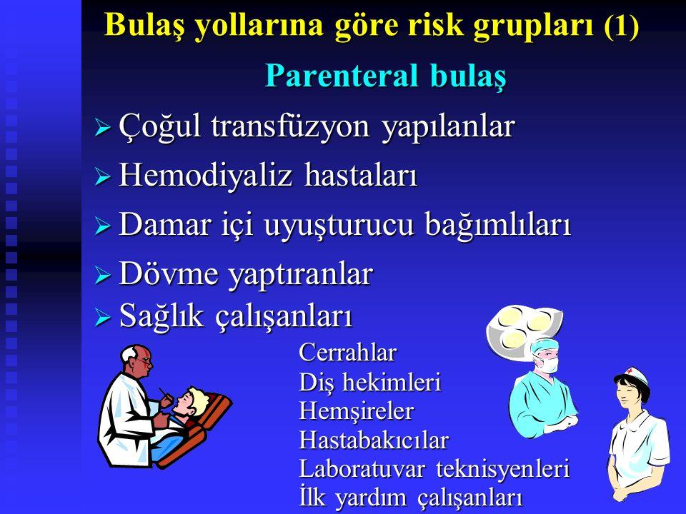 Bulaş yollarına göre risk grupları (1) Parenteral bulaş Parenteral bulaş  Çoğul transfüzyon yapılanlar  Hemodiyaliz hastaları  Damar içi uyuşturucu