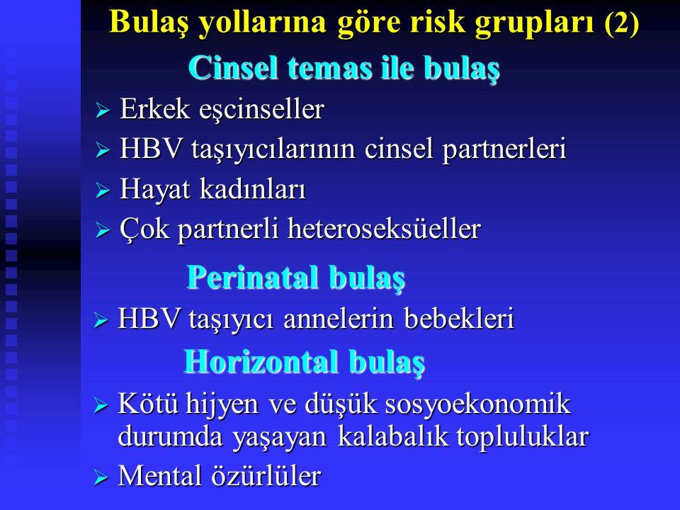 Bulaş yollarına göre risk grupları (2) Cinsel temas ile bulaş Cinsel temas ile bulaş  Erkek eşcinseller  HBV taşıyıcılarının cinsel partnerleri  Hayat kadınları  Çok partnerli heteroseksüeller Perinatal bulaş Perinatal bulaş  HBV taşıyıcı annelerin bebekleri Horizontal bulaş Horizontal bulaş  Kötü hijyen ve düşük sosyoekonomik durumda yaşayan kalabalık topluluklar  Mental özürlüler