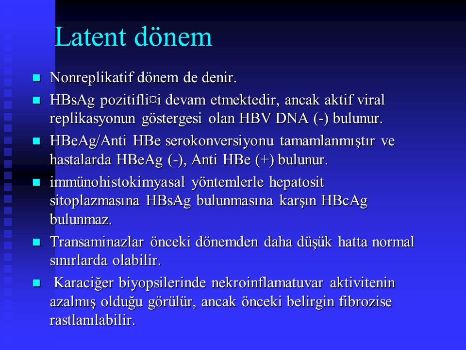 Latent dönem Nonreplikatif dönem de denir. Nonreplikatif dönem de denir. HBsAg pozitifli¤i devam etmektedir, ancak aktif viral replikasyonun gösterges