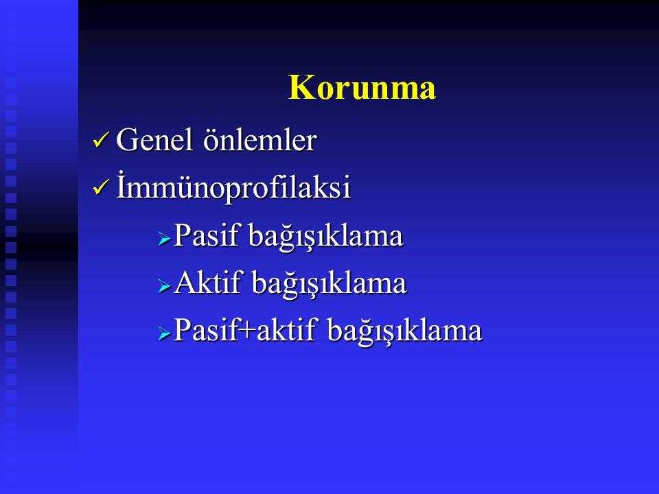 Korunma Genel önlemler Genel önlemler İmmünoprofilaksi İmmünoprofilaksi  Pasif bağışıklama  Aktif bağışıklama  Pasif+aktif bağışıklama