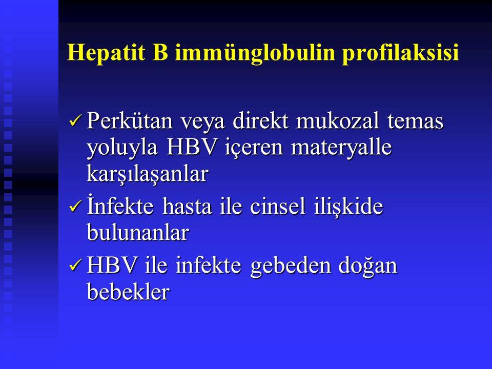 Hepatit B immünglobulin profilaksisi Perkütan veya direkt mukozal temas yoluyla HBV içeren materyalle karşılaşanlar Perkütan veya direkt mukozal temas yoluyla HBV içeren materyalle karşılaşanlar İnfekte hasta ile cinsel ilişkide bulunanlar İnfekte hasta ile cinsel ilişkide bulunanlar HBV ile infekte gebeden doğan bebekler HBV ile infekte gebeden doğan bebekler