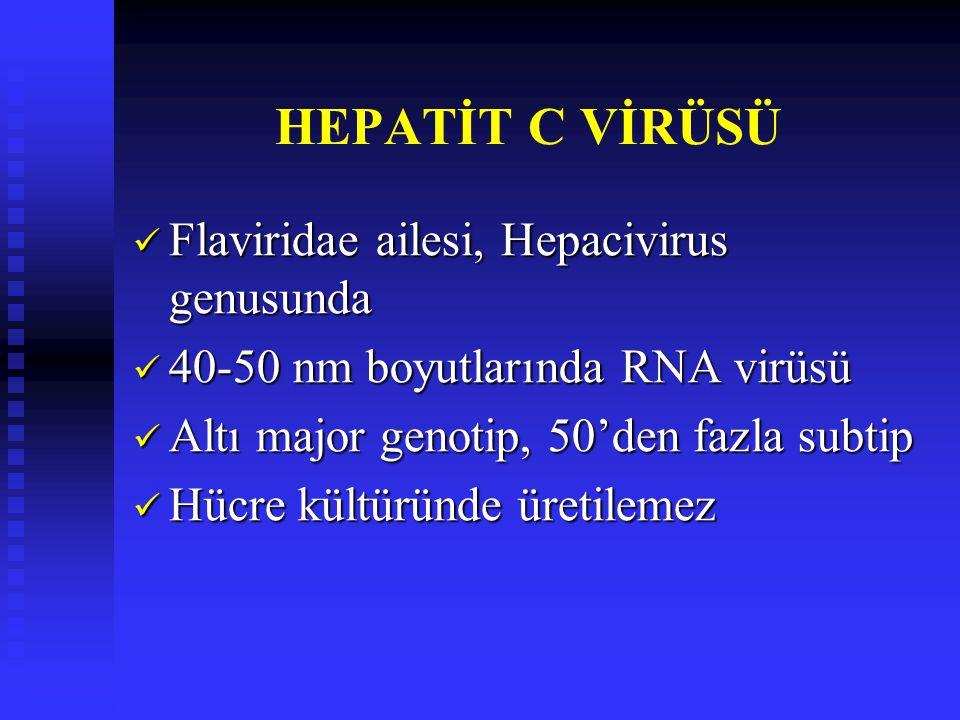 HEPATİT C VİRÜSÜ Flaviridae ailesi, Hepacivirus genusunda Flaviridae ailesi, Hepacivirus genusunda 40-50 nm boyutlarında RNA virüsü 40-50 nm boyutlarında RNA virüsü Altı major genotip, 50'den fazla subtip Altı major genotip, 50'den fazla subtip Hücre kültüründe üretilemez Hücre kültüründe üretilemez