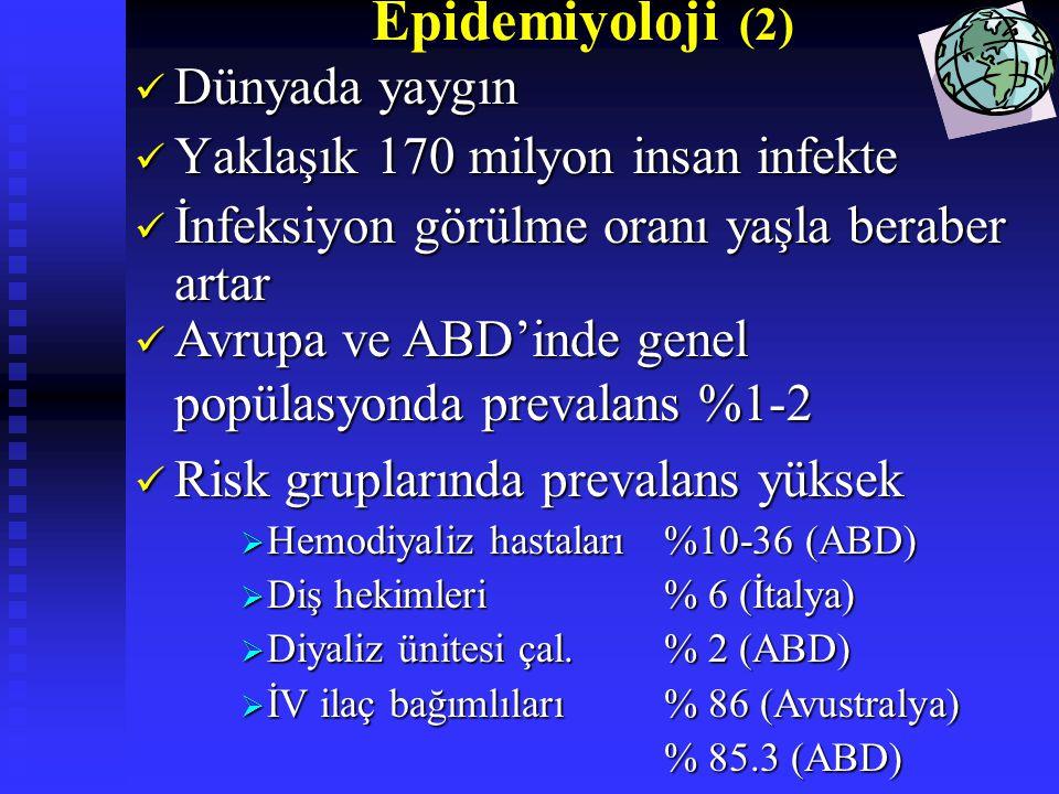 Epidemiyoloji (2) Dünyada yaygın Dünyada yaygın Yaklaşık 170 milyon insan infekte Yaklaşık 170 milyon insan infekte İnfeksiyon görülme oranı yaşla ber