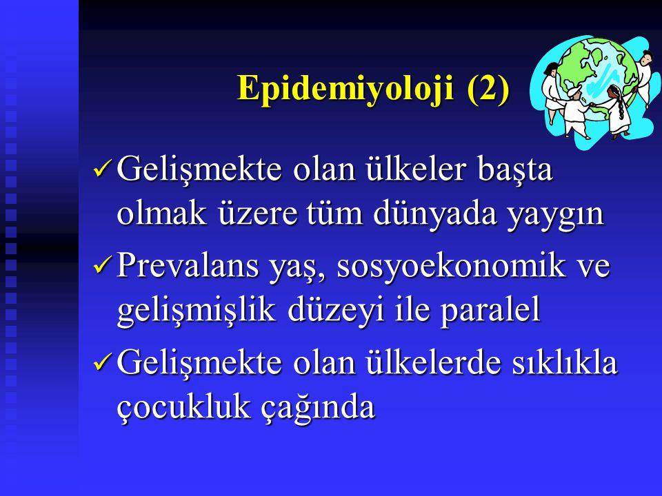 Epidemiyoloji (2) Epidemiyoloji (2) Gelişmekte olan ülkeler başta olmak üzere tüm dünyada yaygın Gelişmekte olan ülkeler başta olmak üzere tüm dünyada