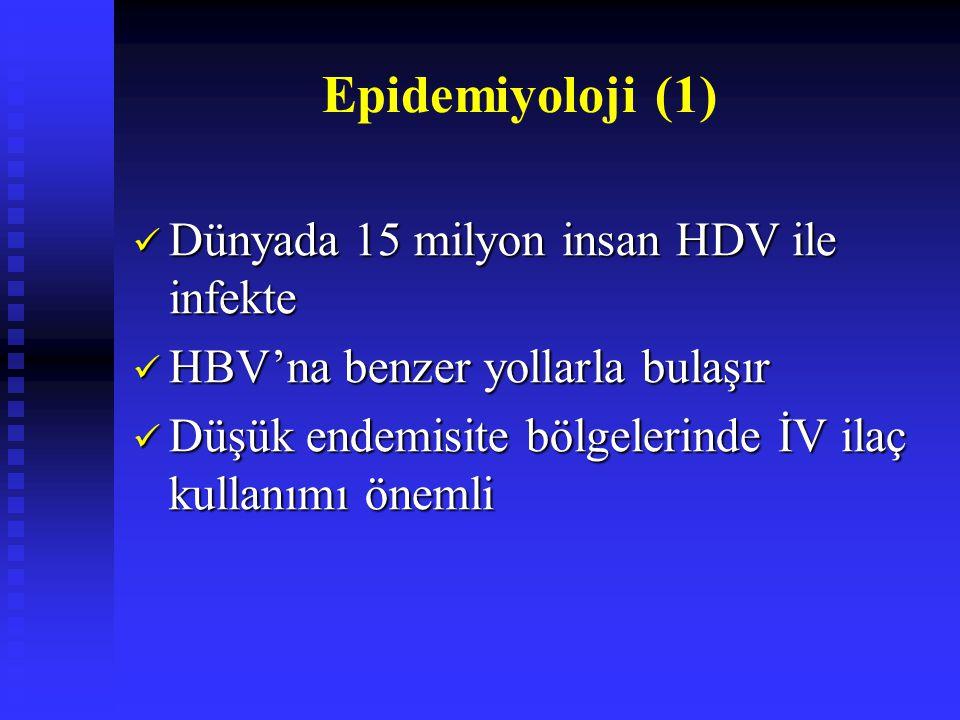 Epidemiyoloji (1) Dünyada 15 milyon insan HDV ile infekte Dünyada 15 milyon insan HDV ile infekte HBV'na benzer yollarla bulaşır HBV'na benzer yollarl