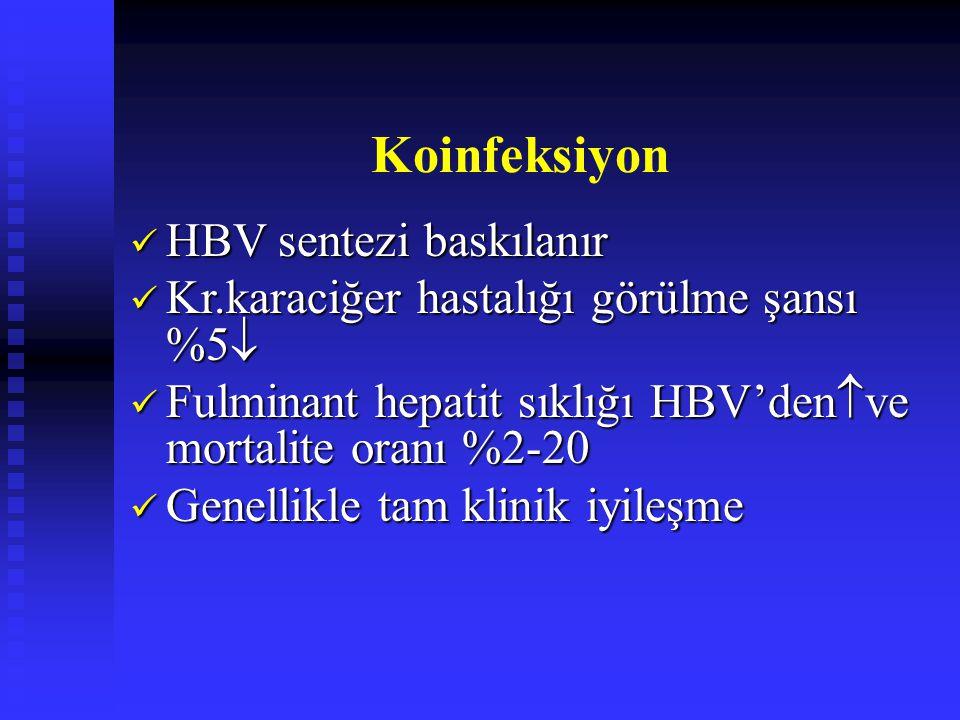 Koinfeksiyon HBV sentezi baskılanır HBV sentezi baskılanır Kr.karaciğer hastalığı görülme şansı %5  Kr.karaciğer hastalığı görülme şansı %5  Fulminant hepatit sıklığı HBV'den  ve mortalite oranı %2-20 Fulminant hepatit sıklığı HBV'den  ve mortalite oranı %2-20 Genellikle tam klinik iyileşme Genellikle tam klinik iyileşme