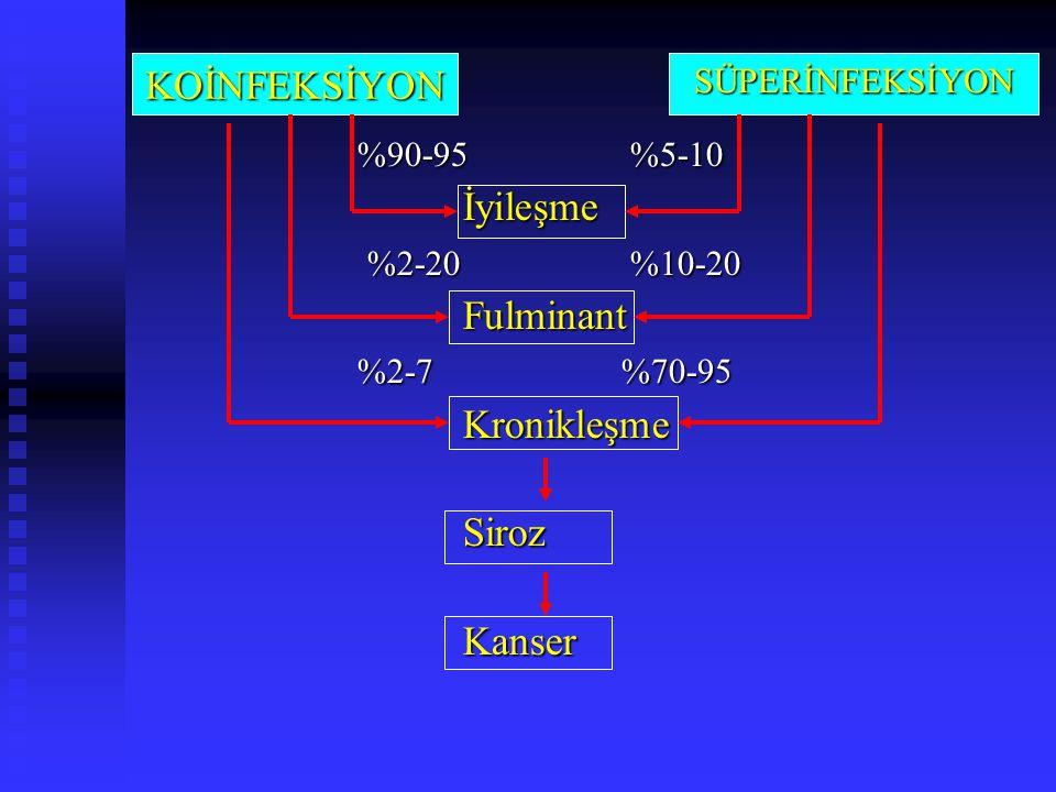 %90-95 %5-10 İyileşme %2-20 %10-20 %2-20 %10-20Fulminant %2-7 %70-95 KronikleşmeSirozKanser KOİNFEKSİYONSÜPERİNFEKSİYON
