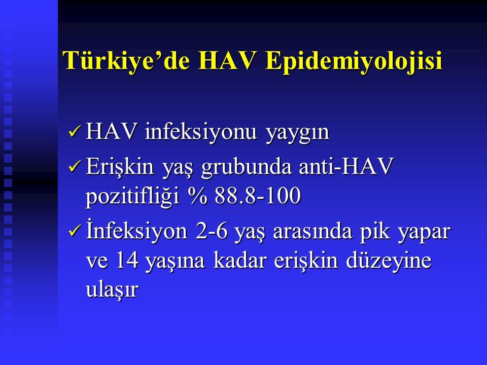 Türkiye'de HAV Epidemiyolojisi HAV infeksiyonu yaygın HAV infeksiyonu yaygın Erişkin yaş grubunda anti-HAV pozitifliği % 88.8-100 Erişkin yaş grubunda anti-HAV pozitifliği % 88.8-100 İnfeksiyon 2-6 yaş arasında pik yapar ve 14 yaşına kadar erişkin düzeyine ulaşır İnfeksiyon 2-6 yaş arasında pik yapar ve 14 yaşına kadar erişkin düzeyine ulaşır