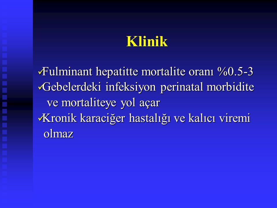Klinik Fulminant hepatitte mortalite oranı %0.5-3 Fulminant hepatitte mortalite oranı %0.5-3 Gebelerdeki infeksiyon perinatal morbidite Gebelerdeki infeksiyon perinatal morbidite ve mortaliteye yol açar ve mortaliteye yol açar Kronik karaciğer hastalığı ve kalıcı viremi Kronik karaciğer hastalığı ve kalıcı viremi olmaz olmaz