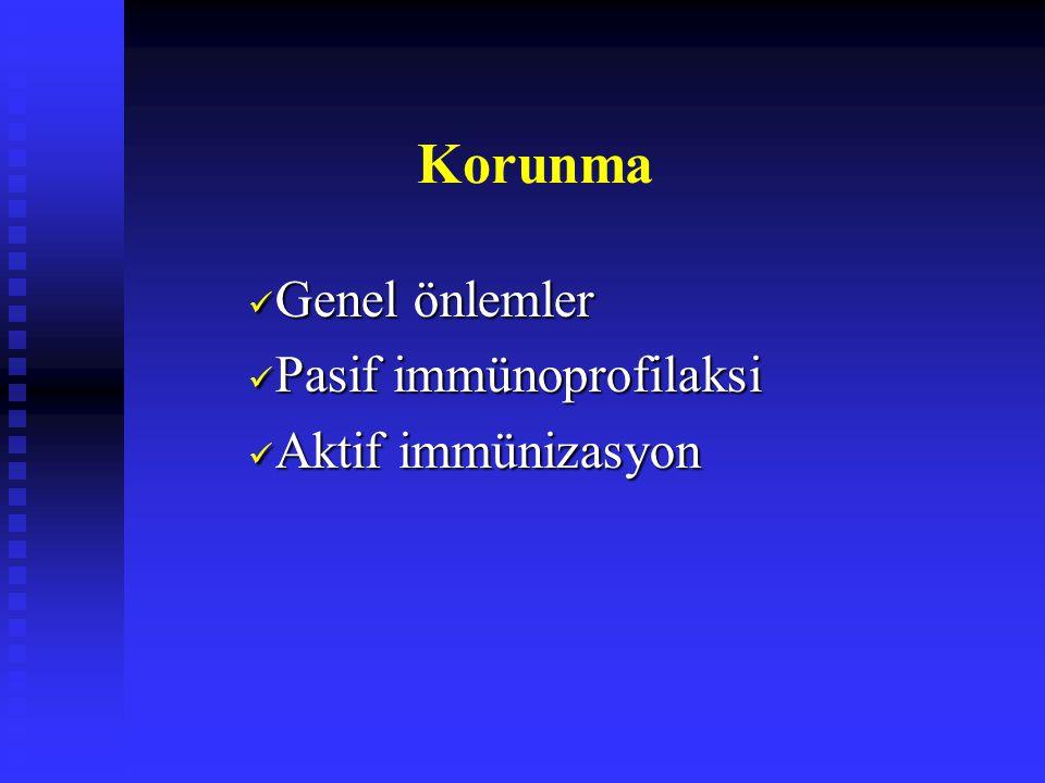 Korunma Genel önlemler Genel önlemler Pasif immünoprofilaksi Pasif immünoprofilaksi Aktif immünizasyon Aktif immünizasyon