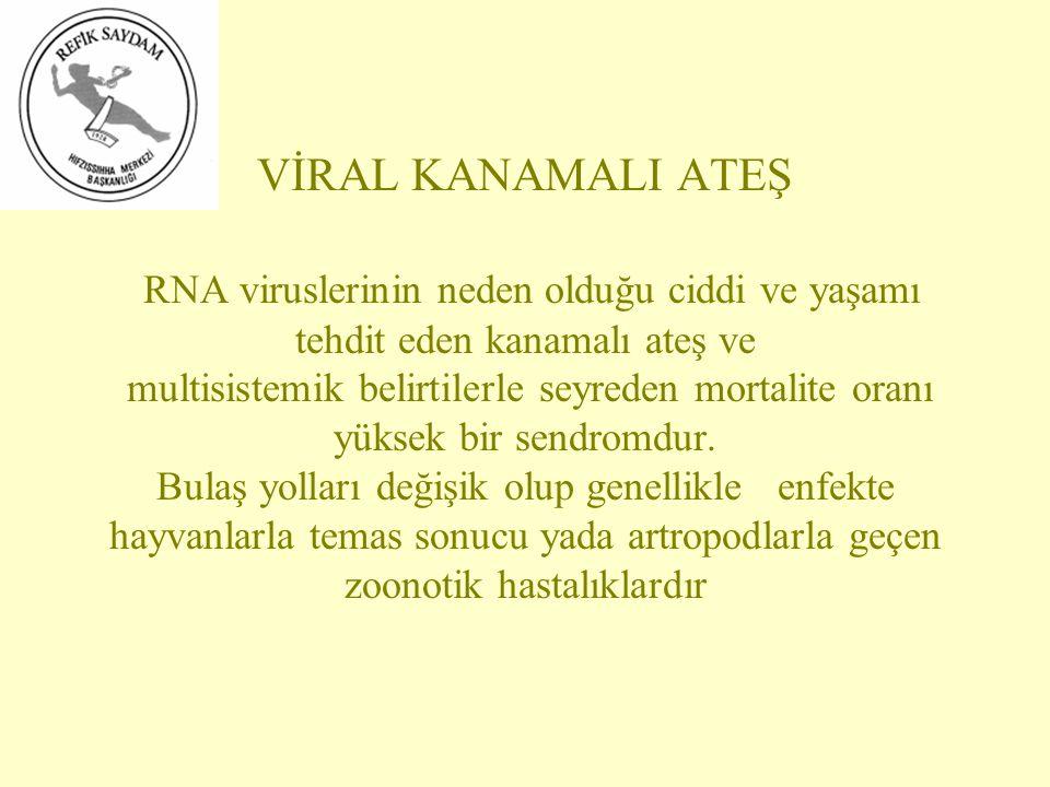 VİRAL KANAMALI ATEŞ RNA viruslerinin neden olduğu ciddi ve yaşamı tehdit eden kanamalı ateş ve multisistemik belirtilerle seyreden mortalite oranı yük