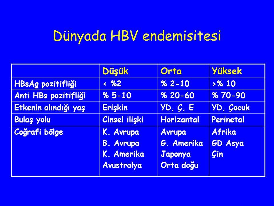 Dünyada HBV endemisitesi DüşükOrtaYüksek HBsAg pozitifliği< %2% 2-10>% 10 Anti HBs pozitifliği% 5-10% 20-60% 70-90 Etkenin alındığı yaşErişkinYD, Ç, E