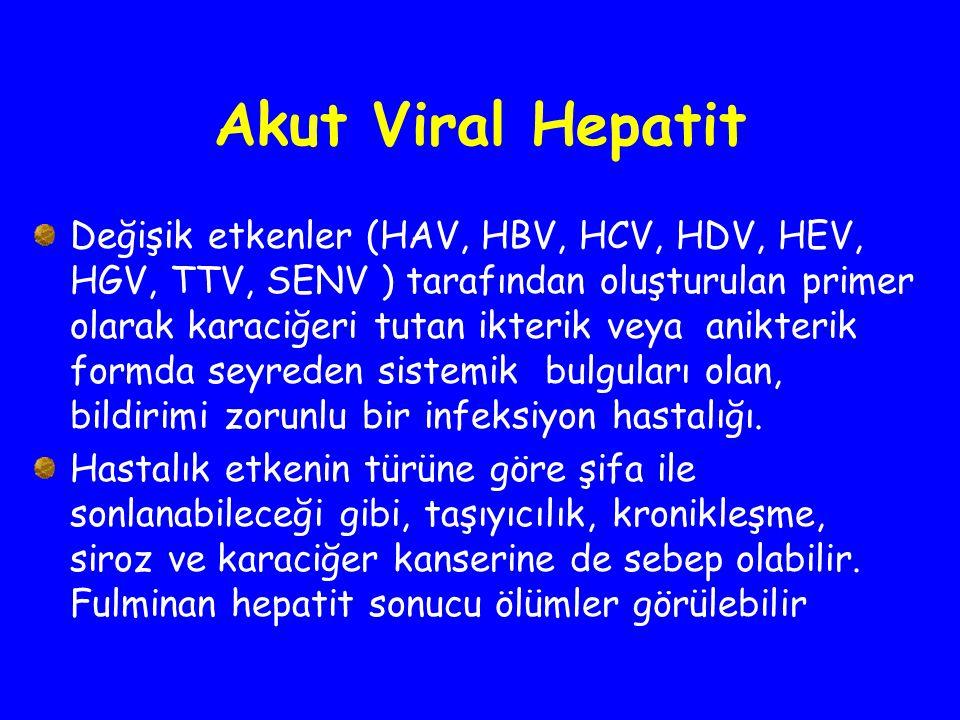 Akut Viral Hepatit Değişik etkenler (HAV, HBV, HCV, HDV, HEV, HGV, TTV, SENV ) tarafından oluşturulan primer olarak karaciğeri tutan ikterik veya anik