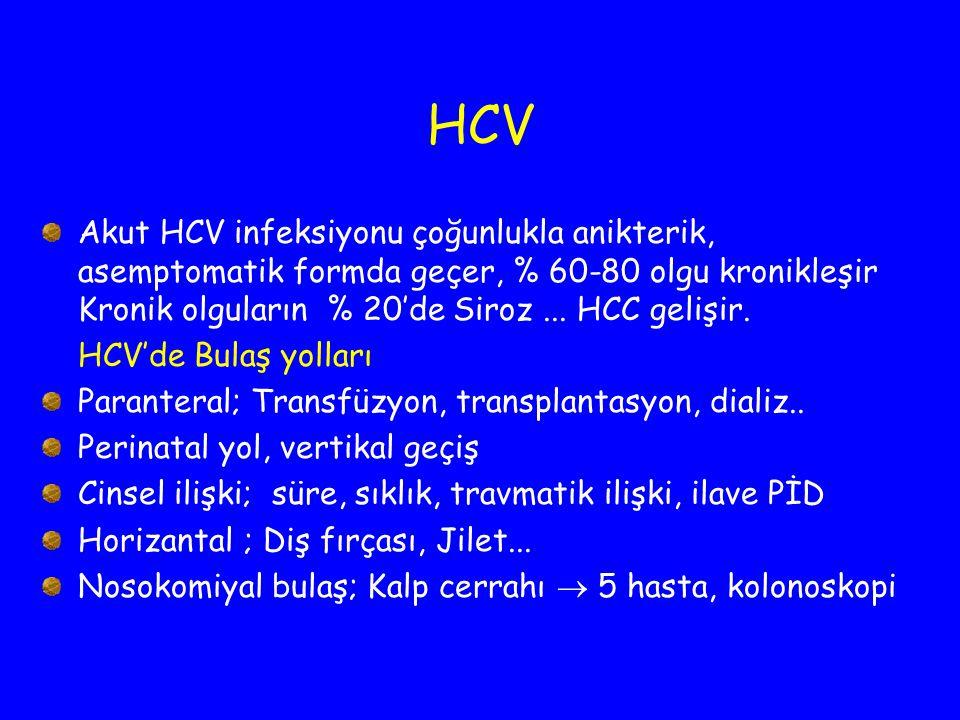 HCV Akut HCV infeksiyonu çoğunlukla anikterik, asemptomatik formda geçer, % 60-80 olgu kronikleşir Kronik olguların % 20'de Siroz... HCC gelişir. HCV'