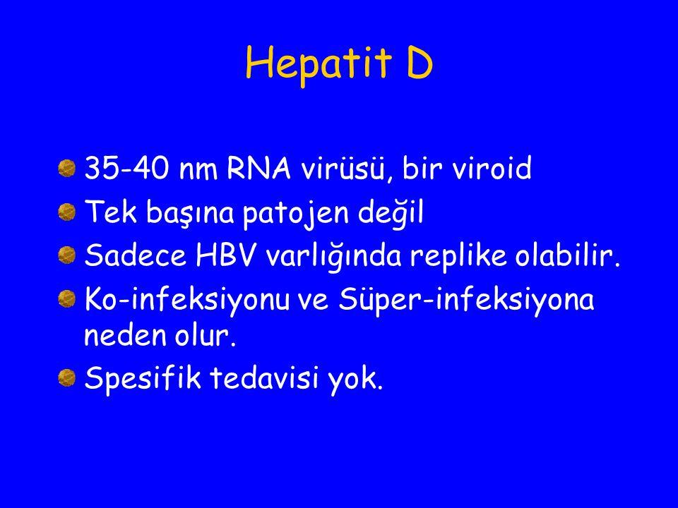 Hepatit D 35-40 nm RNA virüsü, bir viroid Tek başına patojen değil Sadece HBV varlığında replike olabilir. Ko-infeksiyonu ve Süper-infeksiyona neden o
