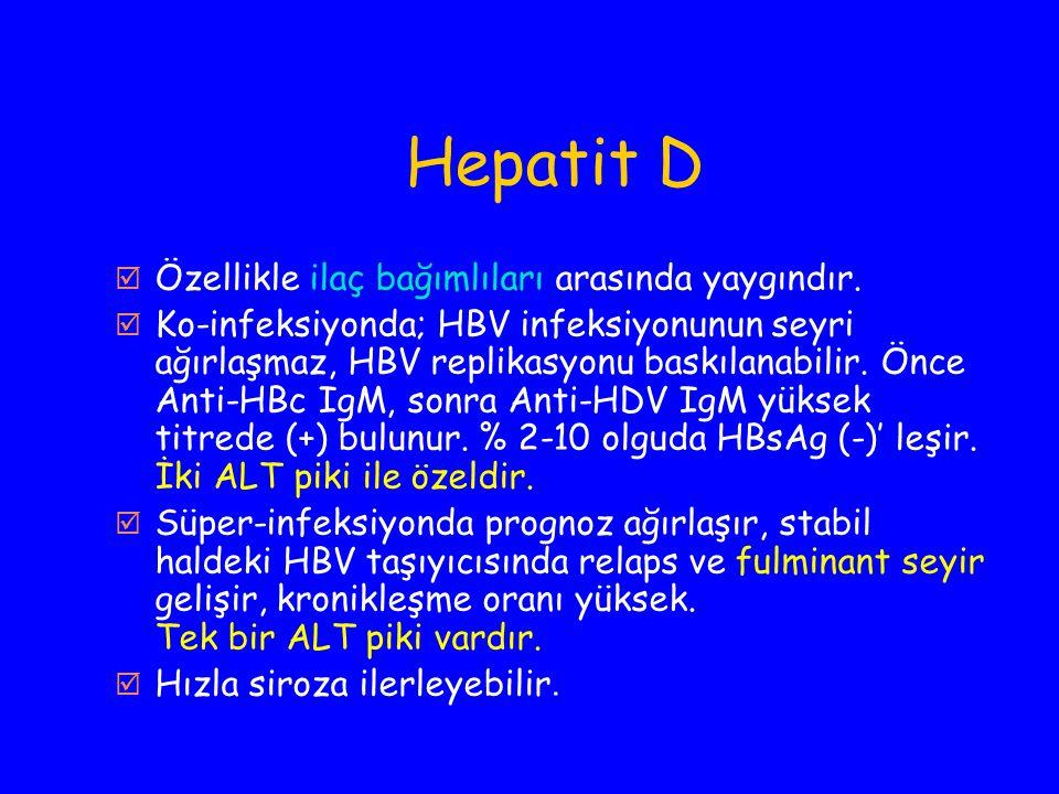 Hepatit D  Özellikle ilaç bağımlıları arasında yaygındır.  Ko-infeksiyonda; HBV infeksiyonunun seyri ağırlaşmaz, HBV replikasyonu baskılanabilir. Ön