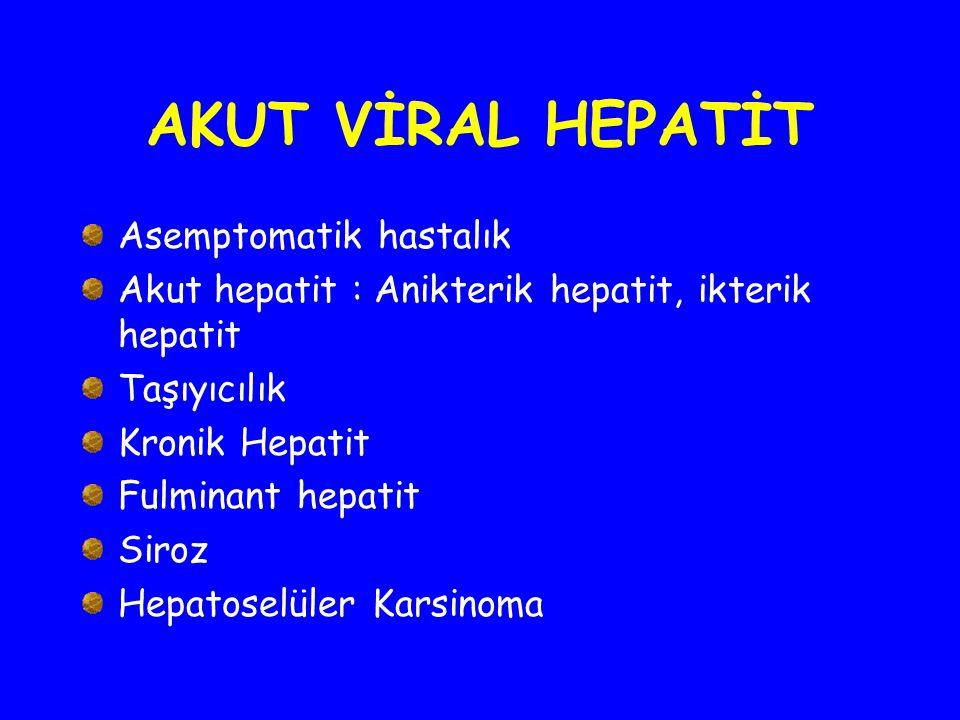 AKUT VİRAL HEPATİT Asemptomatik hastalık Akut hepatit : Anikterik hepatit, ikterik hepatit Taşıyıcılık Kronik Hepatit Fulminant hepatit Siroz Hepatose
