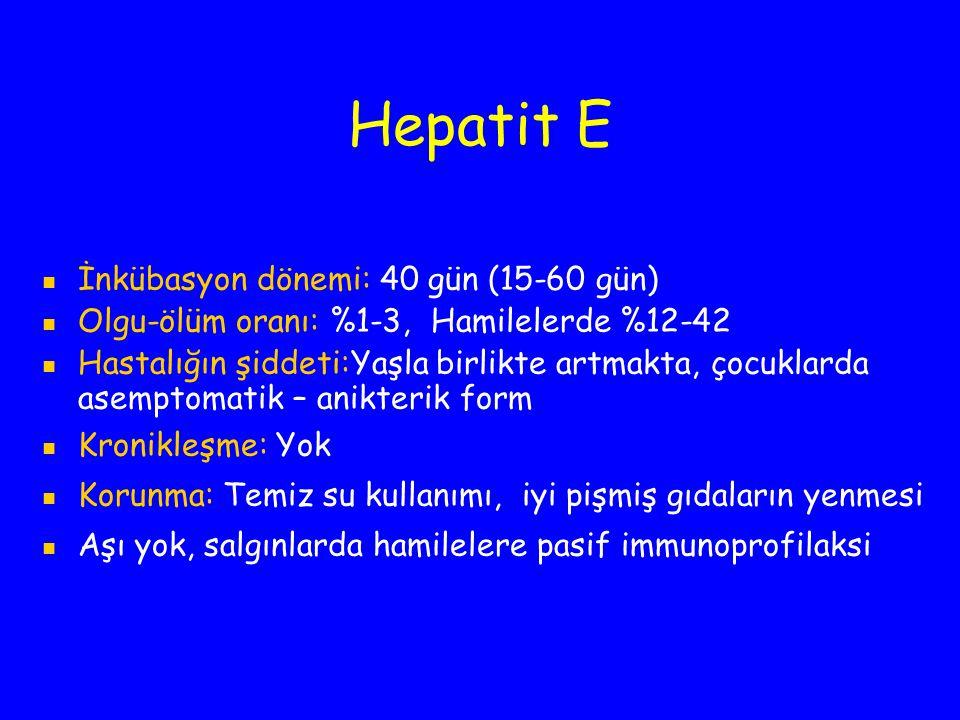 Hepatit E İnkübasyon dönemi: 40 gün (15-60 gün) Olgu-ölüm oranı:%1-3, Hamilelerde %12-42 Hastalığın şiddeti:Yaşla birlikte artmakta, çocuklarda asempt