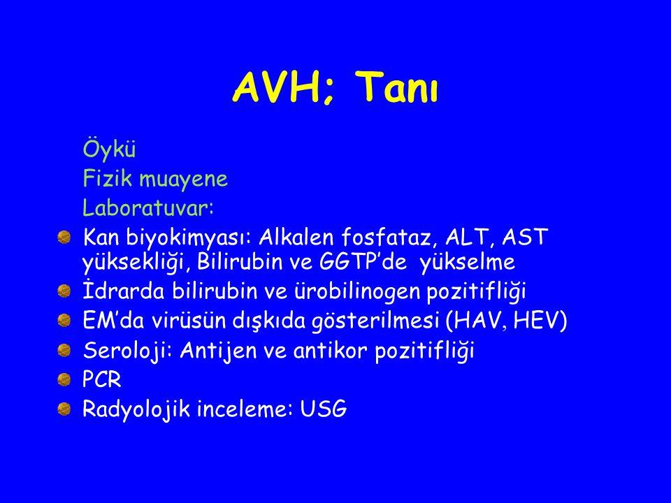 AVH; Tanı Öykü Fizik muayene Laboratuvar: Kan biyokimyası: Alkalen fosfataz, ALT, AST yüksekliği, Bilirubin ve GGTP'de yükselme İdrarda bilirubin ve ü
